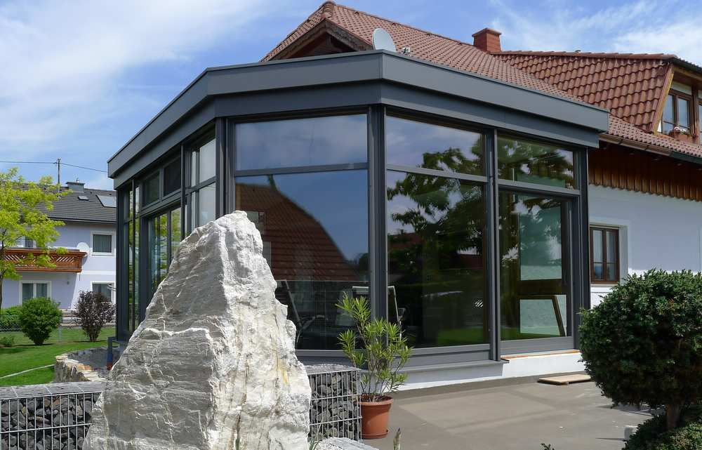 Wintergarten Flachdach wohnbox anbau holz alu höchster wohnkomfort elmer oö