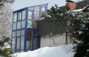 elmer Glashaus blaue Alufarbe