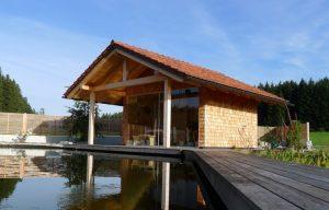 Elmer Holzbau gartenhütte mit terrasse